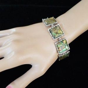 Vintage Jewelry - Vintage Estate Abalone Acrylic Silvertone Bracelet